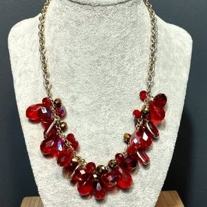 Ruby red bauble necklace